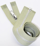 44cm Aluminium Zipper Number 3 Separating (Not YKK) Colour Khaki Green by Each