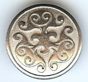 "Renaissance Swirl Metal Button in Polished Silver Finish 7/8"" 22mm"