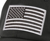 Silver and Black USA Flag Patch Loop Backing