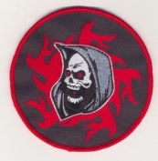 GRIM REAPER SKULL FLAMES Embroidered Biker Vest Patch!!