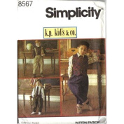 Simplicity Sewing Pattern 8567 Boys' Suspender Pants, Shirt, Lined Vest and Neck Tie, Size BB