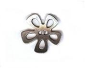 """Open Flower Petal Button. Antique Silver Finish - Size 7/8"""""""