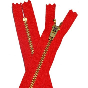 18cm YKK Pants Brass Zipper #4.5 - Hot Red 519