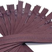 18cm Zipper TALON Nylon Coil Zippers ~ Closed Bottom ~ 792 MAHOGANY