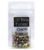 Creative Impressions Mini Painted Metal Paper Fasteners 100/Package, Assorted Pearl Round