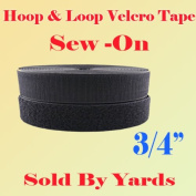 1.9cm (1.9cm ) Width Sold By Yard Black Sew on Hook & Loop - Black Premium Grade Non-adhesive Sew-on Style Sold Includes Hook and Loop Both Side Interlocking Tape