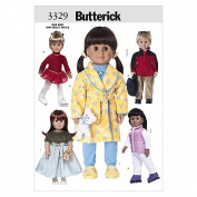 """Butterick Patterns B3329 18"""" (46cm) Doll Clothes, One Size Only"""