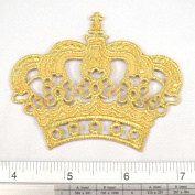 Crown King Queen Princess Gold Iron on Patch Embroidered Racing DIY T-shirt Jacket 6.4cm x 7.6cm