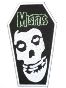 """MISFITS Coffin Skull Logo Iron On Punk Horror Embroidered Patch 4""""10.2cm x 2.2""""/5.8cm By MNC Shop"""
