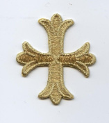 Metallic Gold Patonce Cross Iron on Embroidered Applique Patch