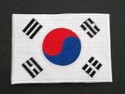 South Korea Flag Patch, 2.5 x 3.5 Iron On Embroidered Patch