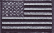 USA - Black and Grey iron-on embroidered patch