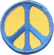 Peace Sign - Blue on Yellow - Embroidered Iron On or Sew On Patch