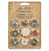 Accoutrements Buttons by Tim Holtz Idea-ology, Classics, 9 per Pack, Various Sizes, Plastic, TH92837
