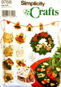 Simplicity 9768 Pattern Elaine Heigl No Sew Tree Topper Tree Skirt Wreath Swag House Church