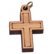 Olive wood Latin Cross Laser Pendant