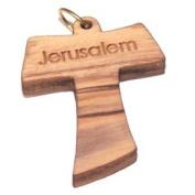 Olive wood Tau Cross Laser Pendant