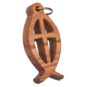 Fish and Cross Olive wood Laser pendant