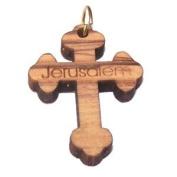 Budded Olive wood Cross Laser pendant