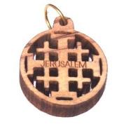 Olive wood Jerusalem Cross Laser Pendant