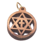 Olive wood Star and Cross Pendant