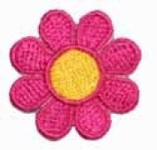 2.5cm Daisy Hippie Flower Embroidered Iron on Applique Patch FD - Bright Pink with Yellow Centre