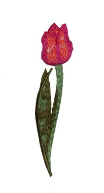 Red Orange Tulip Iron On Patch
