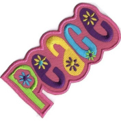 """"""" Peace """" Iron On Patch Pink"""