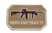 Brown Come And Take It Military Patch w/ Hook Back
