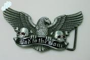 Brand:e & b NEW 3d BAD to the Bone Enamelled Eagle Skulls Belt Buckle 3d-042