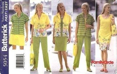 Butterick Sewing Pattern 5054 Misses'/ Misses' Petite Shirt, Dress, Shorts, Pants & Bag, Size 18 20 22