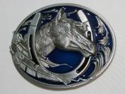 Brand:choi Western Single Horse Head Horseshoe Lucky Enamelled Belt Buckle Wt-058bl
