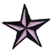 """ Nautic Star "" Iron On Patch Black/Pink"