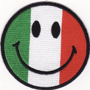 Smile Smiley Happy Face Italy Flag Embroidered Iron on Patch S39