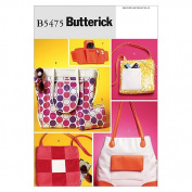 Butterick Patterns B5475 Tote, Bags and Wrist Wallet, One Size Only