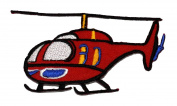 Red Helicopter DIY Applique Embroidered Sew Iron on Patch