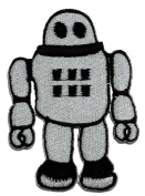 Robot Vintage Retro Classic Toy DIY Applique Embroidered Sew Iron on Patch