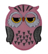 Cute Pink Owl Cartoon DIY Applique Embroidered Sew Iron on Patch
