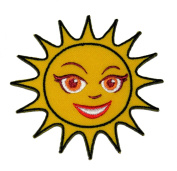 Cute Smile Sun Face DIY Embroidered Sew Iron on Patch