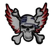 Skull Cross Bone Biker Motorcycle Wing American USA Punk Emo Rock DIY Applique Embroidered Sew Iron on Patch