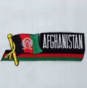 Afghanistan Sidekick Word Country Flag Iron on Patch Crest Badge .. 3.8cm X 11cm ... New