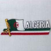 Algeria Sidekick Word Country Flag Iron on Patch Crest Badge .. 3.8cm X 11cm ... New