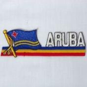 Aruba Sidekick Word Country Flag Iron on Patch Crest Badge .. 3.8cm X 11cm ... New