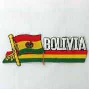 Bolivia Sidekick Word Country Flag Iron on Patch Crest Badge .. 3.8cm X 11cm ... New