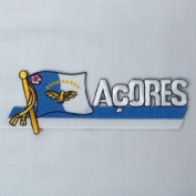 Azores Acores Sidekick Word Country Flag Iron on Patch Crest Badge .. 3.8cm X 11cm ... New