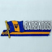 Barbados Sidekick Word Country Flag Iron on Patch Crest Badge .. 3.8cm X 11cm ... New