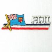 Fiji Sidekick Word Country Flag Iron on Patch Crest Badge .. 3.8cm X 11cm ... New