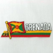 Grenada Sidekick Word Country Flag Iron on Patch Crest Badge .. 3.8cm X 11cm ... New