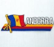 Andorra Sidekick Word Country Flag Iron on Patch Crest Badge .. 3.8cm X 11cm ... New