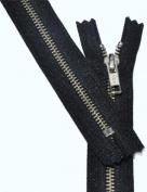 23cm Zipper YKK #5 Nickel Exposed Zipper ~ Closed End ~ 580 Black